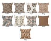 Brown Pillow Cover, Decorative Throw Pillow Covers, Euro Pillow Sham 16 x 16, 18 x 18, 20 x 20, 22 x 22, 24 x 24, 26 x 26