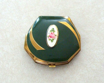Lovely Old Elgin American Clarice Jane Stylish Vintage Compact, Hand Painted Flower Center Cartouce