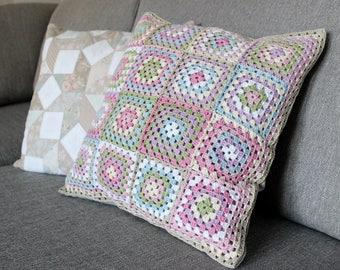 Crochet Granny Square Cushion Cover Shabby Chic Vintage