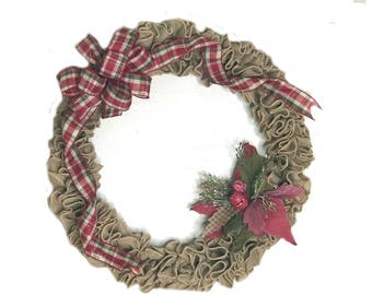 "Poinsettia Plaid Jute Rustic Christmas Wreath 18"""