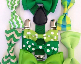 Bow tie Suspenders Kelly Green bowtie Braces Boys Bow ties Emerald Toddler Necktie Moss Men Wedding Ring bearer Outfit St.Patricks day gift