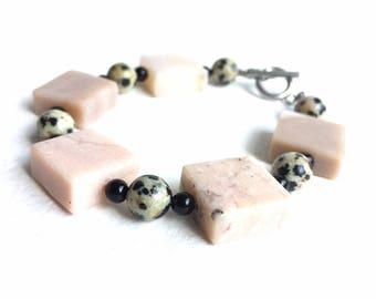 Chunky Chic Geometric Gemstone Bracelet Pink Opal Black Onyx Dalmatian Jasper