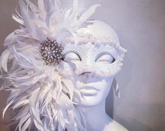 White Mask- Diner en Blanc Mask- White Masquerade Mask- Costume party mask- Masked ball- Masquerade Ball- Mardi Gras- Bridal mask- Custom