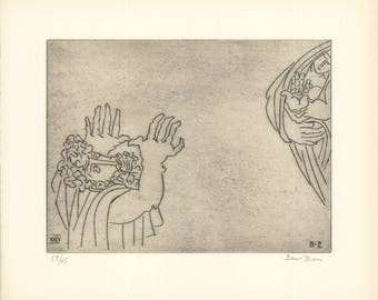 Ben-Zion-Enkidu Curses the Priestess (XXIV)-1966 Etching-SIGNED