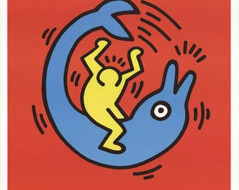 Keith Haring-Dolphin Button-1989 Poster