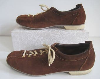 "Dexter  Womens Size 9M Bowling Shoes Brown Suede Lace Up Vintage 11 1/3"" Length"