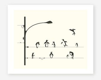 PENGUINS ON A WIRE (Giclée Fine Art Print/Photo Print/Poster Print) Minimal Pop Art