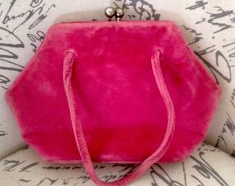 Vintage 1950s hot pink velvet handbag