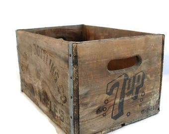 wooden crate, 7-up box, 1960s, storage, organizing vintage style