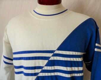 vintage 80's 90's Greenline International color block two tone royal blue white lightweight sweatshirt crew neck terry cloth fleece Large