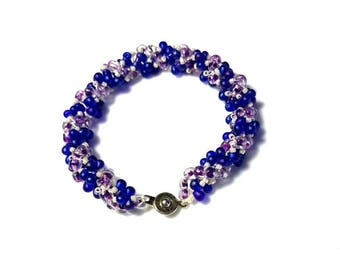 Blue Purple Teardrops Lavender Seed Beads Spiral Rope Bracelet Twisted Blush Pink Seed Bead Bracelet Woven Lightweight Jewelry Gifts for Her