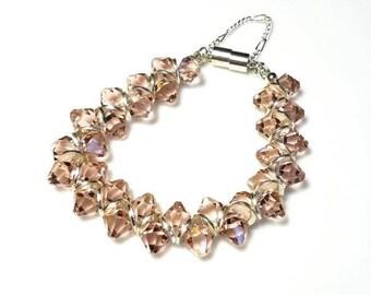 Blush Pink Swarovski Crystal Bracelet Magnetic Clasp Bracelet with Safety Chain Beaded Bracelet Wedding Bracelet Crystal Jewelry