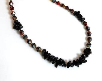 black obsidian gemstone chips necklace red and gray crystal necklace earthy beaded stone necklace gemstone jewelry gold chain jewelry
