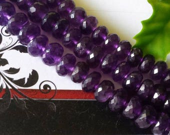 """Natural Amethyst Faceted Rondelle Big Beads,8 mm or 9-9.5 mm,Quality A+, 2,4 or 8 """" long strand"""
