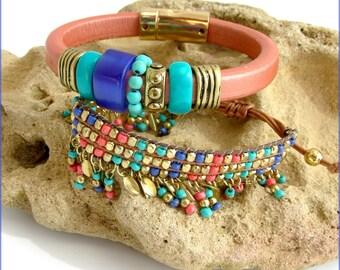 Bracelet Cuir et tissé breloques - Cuivre, oeil de chat Bleu-Indigo / perles turquoises