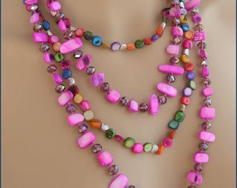 Pink/Fuchsia/multicolor - Pearl necklace, mother of Pearl and metal