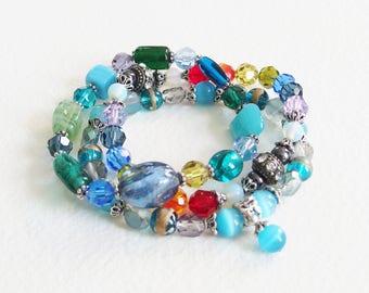 Trio Bracelets d'été - Lagon bleu, algues arc-en-ciel et eaux profondes - Perles de verre, métal argenté - Bijou créateur, pièce unique