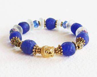Bracelet Esprit Zen - Le Bouddha Soleil d'Or - Perles Pâte de Verre Artisanales, Perles Tibétaines - Bijou créateur, pièce unique