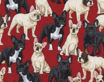 Fat Quarter French Bulldogs 100% Cotton Quilting Fabric Timeless Treasures - Red