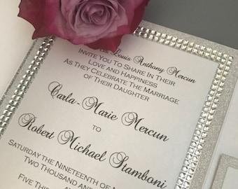 Silver Glitter Wedding Invitation Set -  Bling Wedding Invitation - Modern Wedding Invitation package  - Formal Pocket Invitation Set
