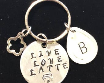 Live, Love, Latte, Personalized, Hand Stamped Key Chain, with Choice of Design