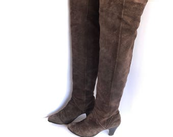 70's Thigh High Brown Raw Leather Boots 7, 70's Suede Hippie Brown Boots 7, 70's Thigh High Minimalist Leather Boots 7, Boho Thigh Highs 7