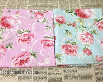 Red Pink Peony Cotton Fabric Peony Flower on Pink Blue Cotton Shabby Chic Fabric Flower Cotton- 1/2 yard