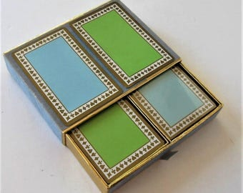 Rare Vintage Tiffany & Company Playing Cards with original Case, Double Deck, 1 unopened deck, Green and Turquoise Blue, gift idea