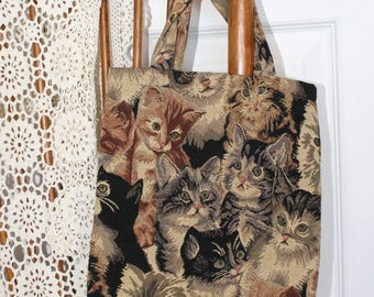 Vintage Kitty Cat Tapestry Purse . Cloth Tote With Cute Kitten Tapestry Print . Small Bag