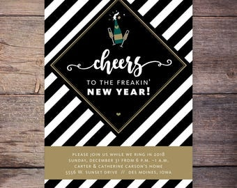Cheers to the new years party invitation, black and gold, new years eve invitation, black gold invitation digital invite customizable