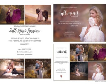 Fall Photography Marketing Template Bundle Pack, 8.5x11in Fall Mini Session Board, Newsletter Ad, Photography Templates