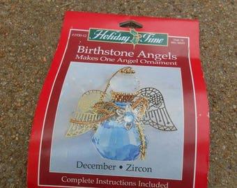 Craft vintage Christmas ornament birthstone angel.