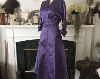 Lavender Blue 50s Satin Dinner Dress