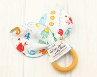 Wooden Kids Toys - Baby Shower Teether - Wood Teething Toy - Waldorf Natural Toy - Counting Fish - 1620