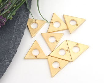 Gold, Mini Triangle Charms, Triangle Dangles, Geometric Charms, 8 pieces //  GCh-254