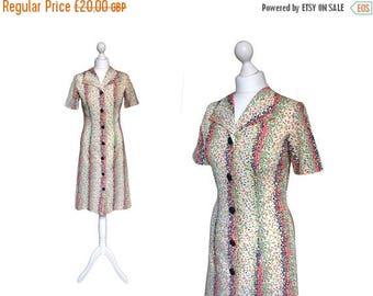 On Sale Vintage 70's Dress | 1970's Dress | Multi Colour Speckle Short Sleeve Shirt Dress