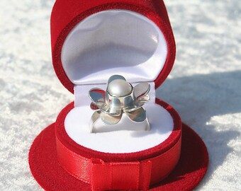 Floral Design Vintage Pearl Flower Shape Mexico Sterling Silver Ring Mexican Silver