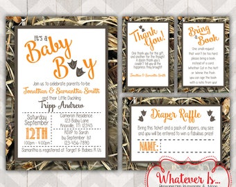 It's A Boy Camouflage Baby Shower Invitation BUNDLE