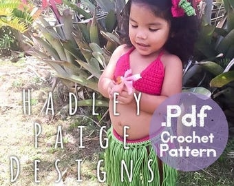 HULA/LUAU Crochet Pattern - Instant download .PDF.  Includes info to make Bikini, grass Skirt (6 sizes) & Hibiscus Flower hair accessory.