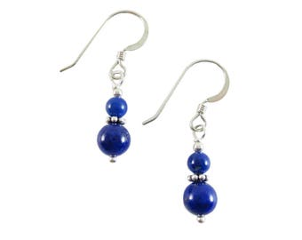 Lovely AAA 4 mm & 6 mm Blue Lapis Lazuli Stacked Bead Earrings