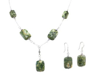 Rain Forest Jasper Large Rectangle Necklace & Earrings Set on Sterling Silver