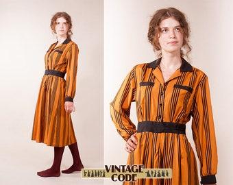 Marion Donaldson 70s longs sleeve dress / Pumpkin orange dress / size small to  medium