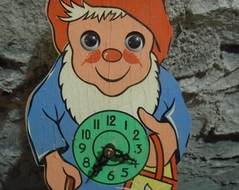 ON SALE vintage mint boxed gnome moving eyes motion clock, made in west germany, deadstock