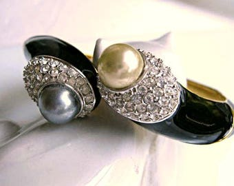 KJL Kenneth Lane Bracelet, Twin Pearl Hinged Bypass Cuff, Rhinestone Pave, Grey and Cream Faux Pearls, Clear Pave Stones