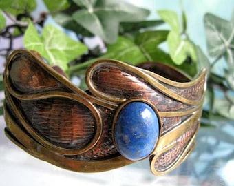 Brass Cuff Bracelet Lapis Stone, Oval Deep Blue Domed Cabstone, Freeform Organic Mixed Textured Copper Metals, Artisan Design