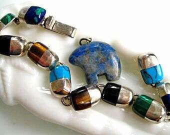 Southwestern Gem Mineral Stones Bracelet, Oval Lozenge Links, Mexico 950 Silver, Turquoise, Tiger Eye, Onyx, Malachite, Bear Fetish Charm