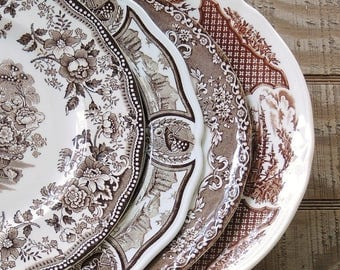 Mismatched Brown and Cream Dinner Plates for Weddings Set of 4 English Multicolor Transferware English China Rustic Replacement China