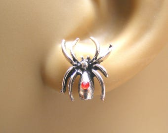 Spider Earrings, Black Widow Spider Studs, Spider Charm, Spider Jewelry, Arachnid Jewelry, Halloween Earrings, Gothic earrings, Cosplay