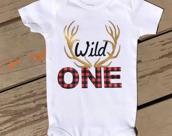Wild One, deer antler birthday shirt, first birthday, rustic birthday, rustic party, rustic theme, 1st birthday, birthday shirt, birthday t