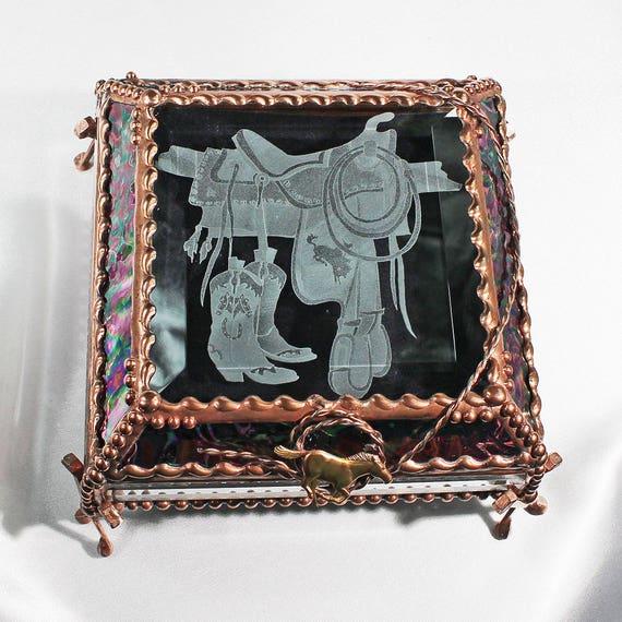 Saddle, stained glass box, treasure box, trinket box, keepsake box, Cowboy, Western, Rodeo